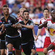 Khiry Shelton, (left), David Villa, (center), NYCFC, and Bradley Wright-Phillips, New York Red Bulls, in action during the New York Red Bulls Vs NYCFC, MLS regular season match at Red Bull Arena, Harrison, New Jersey. USA. 10th May 2015. Photo Tim Clayton