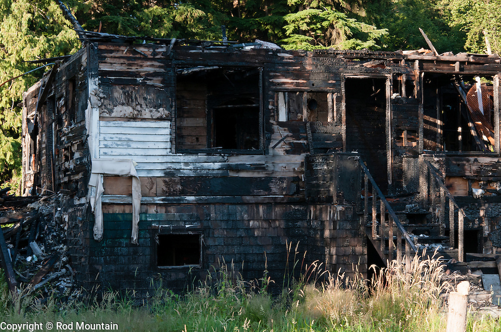 The natural grasses and trees begin to grow in around a burnt out home.