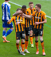 Hull City's Keane Lewis-Potter (19) celebrates scoring the opening goal with teammates<br /> <br /> Photographer Alex Dodd/CameraSport<br /> <br /> The EFL Sky Bet League One - Hull City v Wigan Athletic - Saturday 1st May 2021 - KCOM Stadium - Kingston upon Hull<br /> <br /> World Copyright © 2021 CameraSport. All rights reserved. 43 Linden Ave. Countesthorpe. Leicester. England. LE8 5PG - Tel: +44 (0) 116 277 4147 - admin@camerasport.com - www.camerasport.com