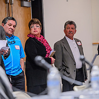 """021615       Cable Hoover<br /> <br /> District 4 city council candidates Cecil E. Garcia, left, John J. Azua, Francisca """"Fran"""" Palochak, Richard M. Ross and Kenneth P. Starkovich line up to take their seats during a forum at UNM-Gallup Monday."""
