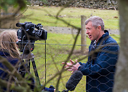 Pictured: Willie Rennie makes sure he follows the health and safety rules as he visits the butcher at Craigie Farm<br /> <br /> Scottish Liberal Democrat leader Willie Rennie headed to South Queensferry today to met visitors at Craigie's Farm and Deli ahead of the final TV leaders debate of the Holyrood campaign. Mr Rennie  toured the farm shop and deli and lent a hand behind the service counter. Mr Rennie underlined that the Lib Dems have punched well above their weight at the Scottish Parliament <br /> <br /> Ger Harley | EEm 1 May 2016
