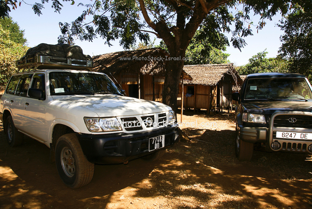 Madagascar, Ankarana Special Reserve. Tourists travelling in 4 wheel drive cars