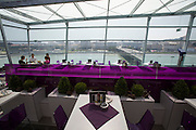 Linz, Cultural Capital of Europe 2009. Ars Electronica Center. Roof Terrace of CUBUS cafe, restaurant and bar.