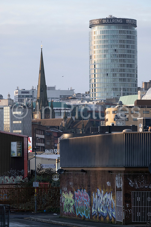 View looking towards the iconic Rotunda building across Digbeth, towards the city centre on 7th January 2021 in Birmingham, United Kingdom. Birmingham is undergoing a massive transformation called the Big City Plan which involves the controversial regeneration of the city centre as well as a secondary zone reaching out further. The Big City Plan is the most ambitious, far-reaching development project being undertaken in the UK. The aim for Birmingham City Council is to create a world-class city centre by planning for the next 20 years of transformation.