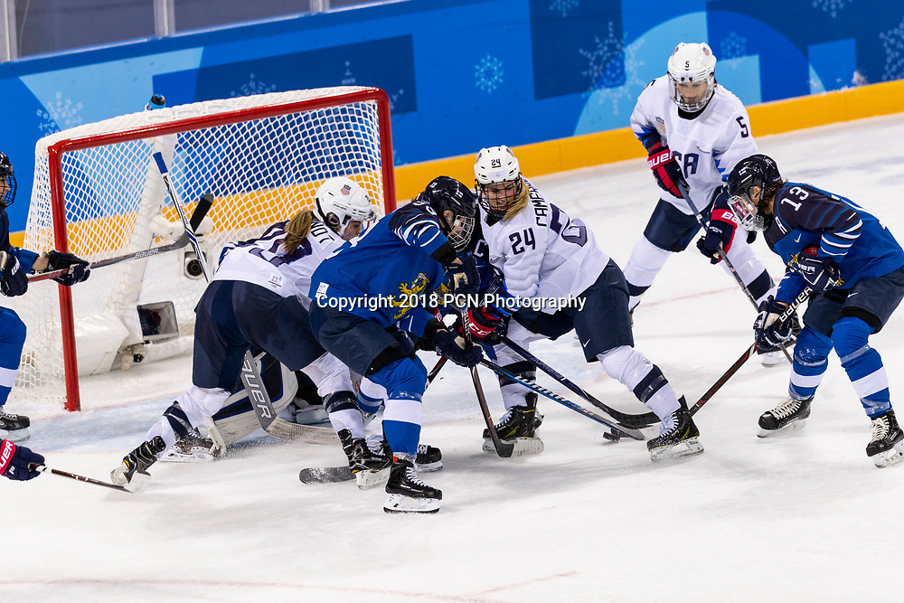 Michelle Karvinen (FIN) #33 and Dani Cameranesi (USA) #24, during USA-FInland Women's Hockey competition at the Olympic Winter Games PyeongChang 2018