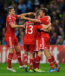Bayern Defender Philipp Lahm (GER) celebrates scoring a goal during the second half of the match - Photo mandatory by-line: Rogan Thomson/JMP - Tel: Mobile: 07966 386802 - 02/10/2013 - SPORT - FOOTBALL - Etihad Stadium, Manchester - Manchester City v Bayern Munich - UEFA Champions League Group D.