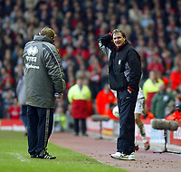 Liverpool's assistant manager Phil Thompson and Middlesbrough's manager Steve McLaren during the Premiership  match at Anfield, Liverpool, Saturday, February 8th, 2003.<br /><br />Pic by David Rawcliffe/Propaganda<br /><br />Any problems call David Rawcliffe on +44(0)7973 14 2020 or email david@propaganda-photo.com - http://www.propaganda-photo.com