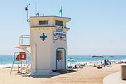 Laguna Beach Lifeguard Tower and The Boardwalk at Main Beach During Summer