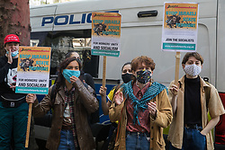 Activists from Palestine Action protest outside the UK headquarters of Elbit Systems, an Israel-based company developing technologies used for military applications including drones, precision guidance, surveillance and intruder-detection systems, on 11th May 2021 in London, United Kingdom. The activists were protesting against the company's presence in the UK and in solidarity with the Palestinian people following attempts at forced evictions of Palestinian families in the Sheikh Jarrah neighbourhood of East Jerusalem, the deployment of Israeli forces against worshippers at the Al-Aqsa mosque during Ramadan and air strikes on Gaza which have killed several children.