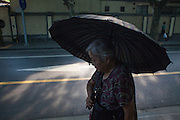 A old lady walks with an umbrella in a street in Shanghai.