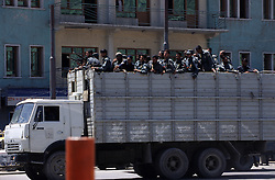 Kabul, 19 July 2005..Afghan (ANA) troop, on board of a truck, patrolling the street of Kabul.