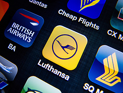detail of Lufthansa  airline app icon on iPhone screen