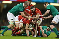 Alun Wyn Jones of Wales © is held up by the Ireland defence. RBS Six Nations 2017 international rugby, Wales v Ireland at the Principality Stadium in Cardiff , South Wales on Friday 10th March 2017.  pic by Andrew Orchard, Andrew Orchard sports photography