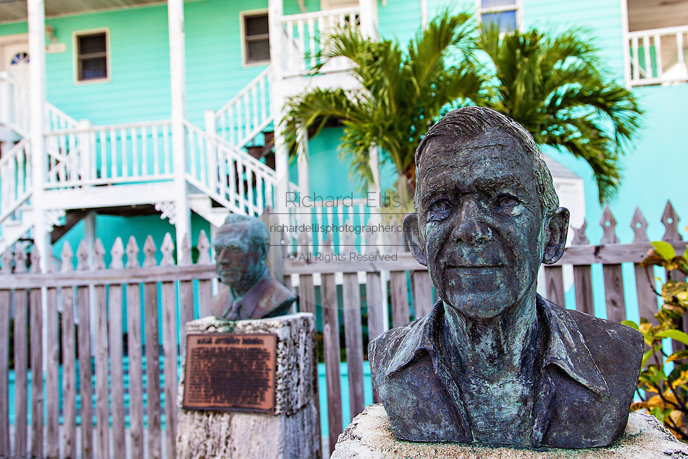 Statues honoring the loyalists who left America following the Revolutionary War at the Loyalist Memorial Sculpture Garden in New Plymouth on Green Turtle Cay, Bahamas.