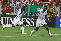 Photo: Steve Bond/Richard Lane Photography.<br />Ghana v Nigeria. Africa Cup of Nations. 03/02/2008. Michael Essien (L) turns to celebrate, as does John Mensah (R)