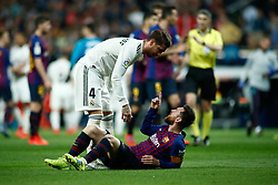 March 2, 2019 - Madrid, MADRID, SPAIN - Lionel (Leo) Messi of FC Barcelona fight with Sergio Ramos of Real Madrid during the spanish league, La Liga, football match played between Real Madrid and FC Barcelona at Santiago Bernabeu Stadium in Madrid, Spain, on March 02, 2019. (Credit Image: © AFP7 via ZUMA Wire)