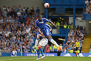 Kurt Zouma of Chelsea heads the ball out. Barclays Premier League, Chelsea v Crystal Palace at Stamford Bridge in London on Saturday 29th August 2015.<br /> pic by John Patrick Fletcher, Andrew Orchard sports photography.