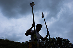 © Licensed to London News Pictures.13/06/15<br /> Durham, England<br /> <br /> A rower carries his oars to his boat during the 182nd Durham Regatta rowing event held on the River Wear. The origins of the regatta date back  to commemorations marking victory at the Battle of Waterloo in 1815. This is the second oldest event of this type in the country and attracts over 2000 competitors from across the country.<br /> <br /> Photo credit : Ian Forsyth/LNP