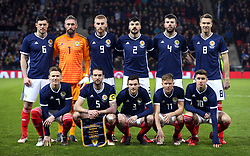 Scotland team group (top row, from left to right) Scott McKenna, goalkeeper Allan McGregor, Oliver McBurnie, Callum Paterson, Grant Hanley and Kevin McDonald (bottom row, from left to right) Scott McTominay, Charlie Mulgrew, Andrew Robertson, Matt Ritchie and Tom Cairney before the international friendly match at Hampden Park, Glasgow.