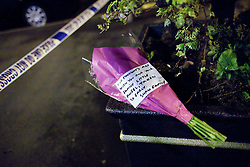 © Licensed to London News Pictures. 27/06/2012. Oldham , UK . Flowers left near to the scene where a large explosion , believed to be caused by gas , has brought down at least one house in an Oldham terrace. A 2 year old child , named as Jamie Heaton , died as a consequence of the blast . Photo credit : Joel Goodman/LNP