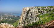 Israel, Lower Galilee, Arbel mountain, The Sea of Galilee in the background