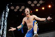 Gypsy-punk band Gogol Bordello performing at Lollapalooza 2008 music festival.