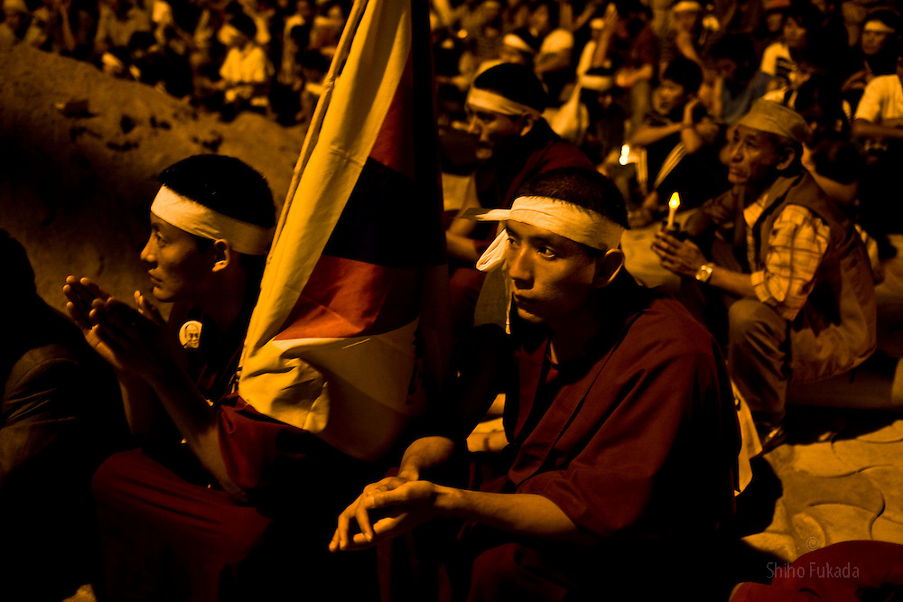 INDIA - Life in Exile (Tibetan Refugees) <br /> People participate in a candle light vigil for the 20th anniversary of Tianmen Square protest in McLeod Ganj, Dharamsala, India, where the Dalai Lama settled after fleeing Tibet in 1959 after a failed uprising against Chinese rule, June  3, 2009.
