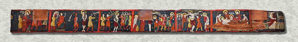 Romanesque painted Beam depicting The Passion and the Stations of the Cross<br /> <br /> Around 1192-1220, Tempera on wood from Catalonia, Spain.<br /> <br /> Acquisition of Museums Board's campaign in 1907. MNAC 15833.<br /> <br /> It is not known what was the original location of the beam, but it might have been part of the structure of a canopy. In any case, it was reused in a ceiling, as evidenced by the cuts that are at the top. It is decorated with seven scenes from the Passion and Resurrection of Christ, the whipping on the Road to Calvary, Crucifixion, Descent and Mourning of the Dead Body of Christ and the Mary discovering the empty tomb. The narrative character in the images and the predominance of yellow is typical of Catalan painting of the 1200's,  specifically with illustrations of Liber Feudorum Maior, a late twelfth-century illuminated cartulary book style of the Crown of Aragon .<br /> <br /> If you prefer you can also buy from our ALAMY PHOTO LIBRARY  Collection visit : https://www.alamy.com/portfolio/paul-williams-funkystock/romanesque-art-antiquities.html<br /> Type -     MNAC     - into the LOWER SEARCH WITHIN GALLERY box. Refine search by adding background colour, place, subject etc<br /> <br /> Visit our ROMANESQUE ART PHOTO COLLECTION for more   photos  to download or buy as prints https://funkystock.photoshelter.com/gallery-collection/Medieval-Romanesque-Art-Antiquities-Historic-Sites-Pictures-Images-of/C0000uYGQT94tY_Y