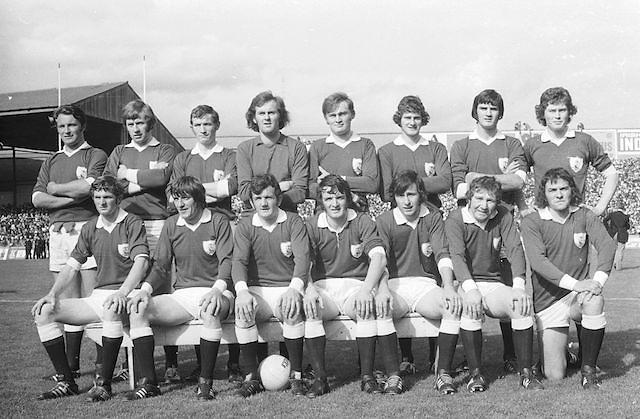 The Galway team before the start of the All Ireland Senior Gaelic Football Championship Final Cork v Galway in Croke Park on the 23rd September 1973. Cork 3-17 Galway 2-13.<br /> G Mitchell, J Waldron, J Cosgrove, B Colleran, L O'Neill, T J Gilmore, J Hughes, W Joyce, J Duggan, M Burke, L Sammon (capt), M Rooney, J Coughlan, T Naughton, M Hughes, Subs F Canavan for J Coughlan, C McDonagh for M Burke.