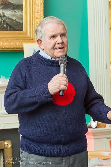 David Lovegrove speaking at the reunion night to celebrate 50 years of the Irish Fireball Class, held at the Royal St George YC.