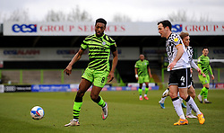 Ebou Adams of Forest Green Rovers get past Luke Joyce of Port Vale- Mandatory by-line: Nizaam Jones/JMP - 16/01/2021 - FOOTBALL - innocent New Lawn Stadium - Nailsworth, England - Forest Green Rovers v Port Vale - Sky Bet League Two