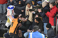 Hull City striker Abel Hernandez (9) runs into the fans to celebrate scoring his penalty  during the Sky Bet Championship match between Hull City and Cardiff City at the KC Stadium, Kingston upon Hull, England on 13 January 2016. Photo by Ian Lyall.