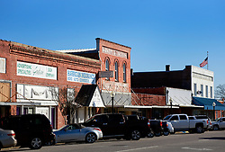 05 February 2015. Monroeville, Alabama.<br /> On the trail of Harper Lee's 'To Kill a Mocking Bird.'<br /> The old historic downtown store facades have not changed much over the years.<br /> Photo; Charlie Varley/varleypix.com