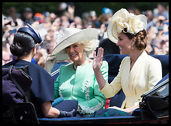 June 8, 2019 - London, London, United Kingdom - Image licensed to i-Images Picture Agency. 08/06/2019. London, United Kingdom.  Meghan Markle, Duchess of Sussex , Camilla, Duchess of Cornwall and Kate, Duchess of Cambridge  at Trooping the Colour in London. (Credit Image: © Stephen Lock/i-Images via ZUMA Press)