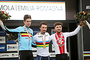 Podium Wout Van Aert of Belgium 2nd place, Julian Alaphilippe of France, winner, Marc Hirschi of Switzerland 3rd place during the 2020 UCI World Road Championships, Men Elite Road Race, on September 27, 2020 at Autodromo Enzo and Dino Ferrari in Imola, Italy - Photo Laurent Lairys / ProSportsImages / DPPI