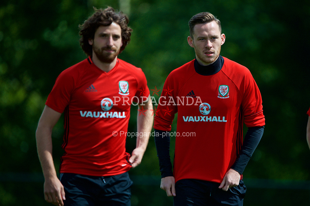 CARDIFF, WALES - Wednesday, June 7, 2017: Wales' Gethin Jones [R] and Joe Allen [L] during a training session at the Vale Resort ahead of the 2018 FIFA World Cup Qualifying Group D match against Serbia. (Pic by David Rawcliffe/Propaganda)