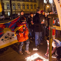 Supporters of Tibet demonstrate to Free Tibet in front of the Chinese Embassy in Budapest, Hungary on December 10, 2012. ATTILA VOLGYI