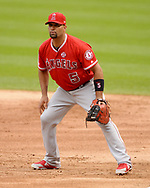 CHICAGO - SEPTEMBER 08: Albert Pujols #5 of the Los Angeles Angels fields against the Chicago White Sox on September 8, 2019 at Guaranteed Rate Field in Chicago, Illinois.  (Photo by Ron Vesely)  Subject:   Albert Pujols