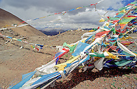 Tibetan Buddhist prayer flags in the Himalayas are placed in the countryside to catch the wind and spread good vibrations.
