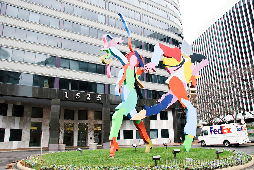 Sculpture outside a building in Rosslyn, Arlington, Virginia