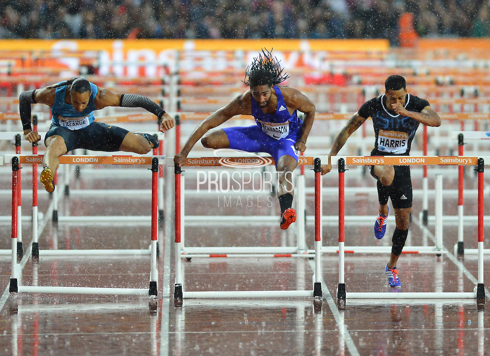 Heat B 110m Hurdles winner Jason Richardson USA at the Sainsbury's Anniversary Games at the Queen Elizabeth II Olympic Park, London, United Kingdom on 24 July 2015. Photo by Mark Davies.