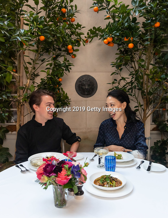 Chefs Judy Joo and Emmanuel Niess pose for a portrait at Majorelle in the Lowell Hotel in New York City on November 1st, 2019. (Photo by Kris Connor/Getty Images for OK! Magazine)