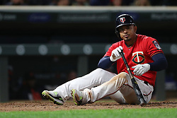 September 29, 2017 - Minneapolis, MN, USA - The Minnesota Twins' Eduardo Escobar dodges an inside pitch in the eighth inning against the Detroit Tigers on Friday, Sept. 29, 2017, at Target Field in Minneapolis. The Twins won, 6-3. (Credit Image: © Anthony Souffle/TNS via ZUMA Wire)