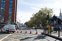 © Licensed to London News Pictures. 22/09/2016. LONDON, UK.  General view of police and forensic officers at the scene. A man was found dead in the street following a suspected assault, near All Saints DLR station just before midnight last night.  Photo credit: Vickie Flores/LNP