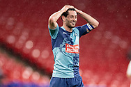 Wycombe Wanderers defender Joe Jacobson (3) celebrates at full time during the EFL Sky Bet League 1 Play Off Final match between Oxford United and Wycombe Wanderers at Wembley Stadium, London, England on 13 July 2020.