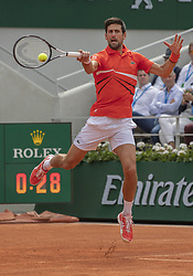 Novak Djokovic of Serbia in action during the first round match, within the French Open tennis tournament at Roland Garros in Paris, France on May 27, 2019. Photo by ABACAPRESS.COM