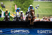 April 29, 2017, 22nd annual Queen's Cup Steeplechase. LIFE SAID and jockey Shane Crimin lead during the first race