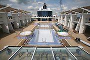 Celebrity Equinox, a brand new cruise ship belonging to Celebrity Cruises, during her river conveyance down the River Emms from the shipyard where she was built to the open sea..Onboard feature photos. (ship unfinished).Pool Deck