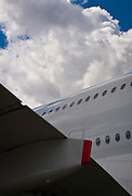 Abstract image of the wing trailing edge and the fuselage of the enormous Airbus A-380.  Airventure 2009, Oshkosh, Wisconsin.
