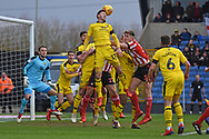 Oxford United forward James Henry (17) heads the ball away during the EFL Sky Bet League 1 match between Oxford United and Sunderland at the Kassam Stadium, Oxford, England on 9 February 2019.